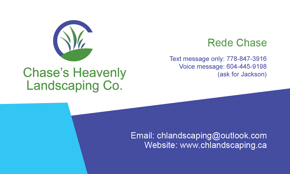 Wmo design portfolio rede chase business card chases heavenly landscaping co business card colourmoves